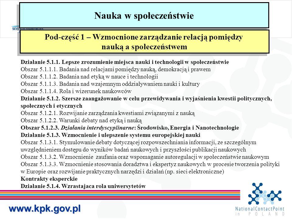 www.kpk.gov.pl Nauka w społeczeństwie Pod-część 1 – Wzmocnione zarządzanie relacją pomiędzy nauką a społeczeństwem Pod-część 1 – Wzmocnione zarządzanie relacją pomiędzy nauką a społeczeństwem Działanie 5.1.1.