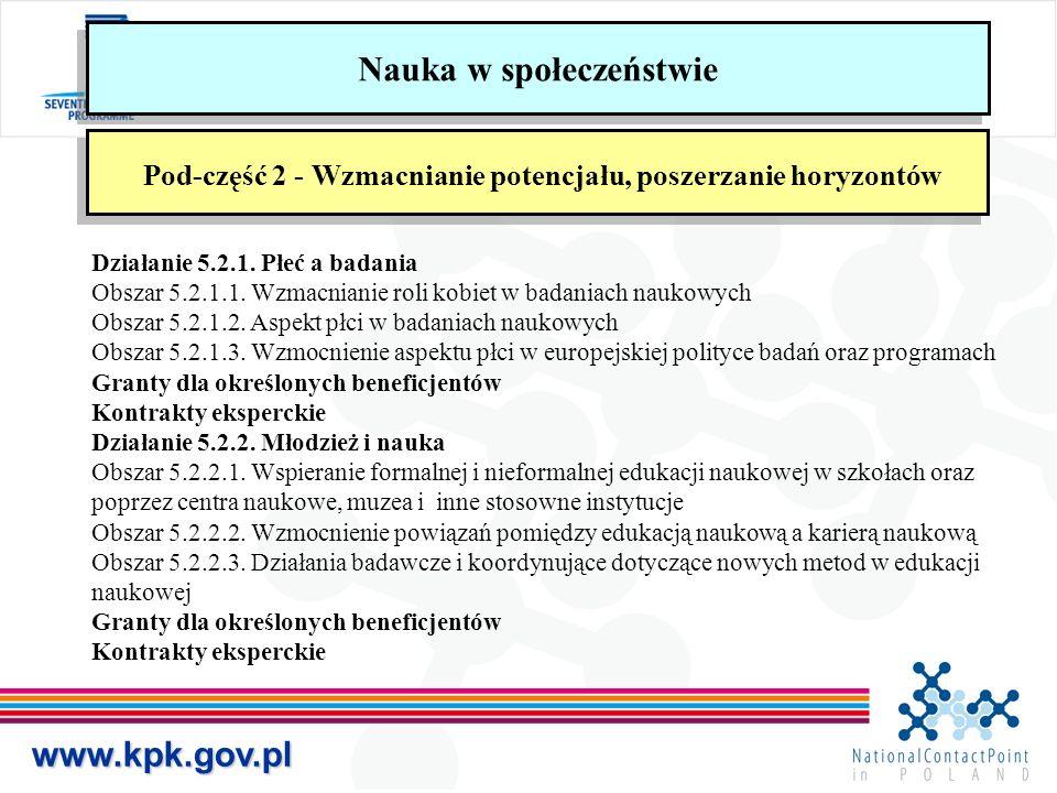 www.kpk.gov.pl Nauka w społeczeństwie Pod-część 2 - Wzmacnianie potencjału, poszerzanie horyzontów Działanie 5.2.1. Płeć a badania Obszar 5.2.1.1. Wzm
