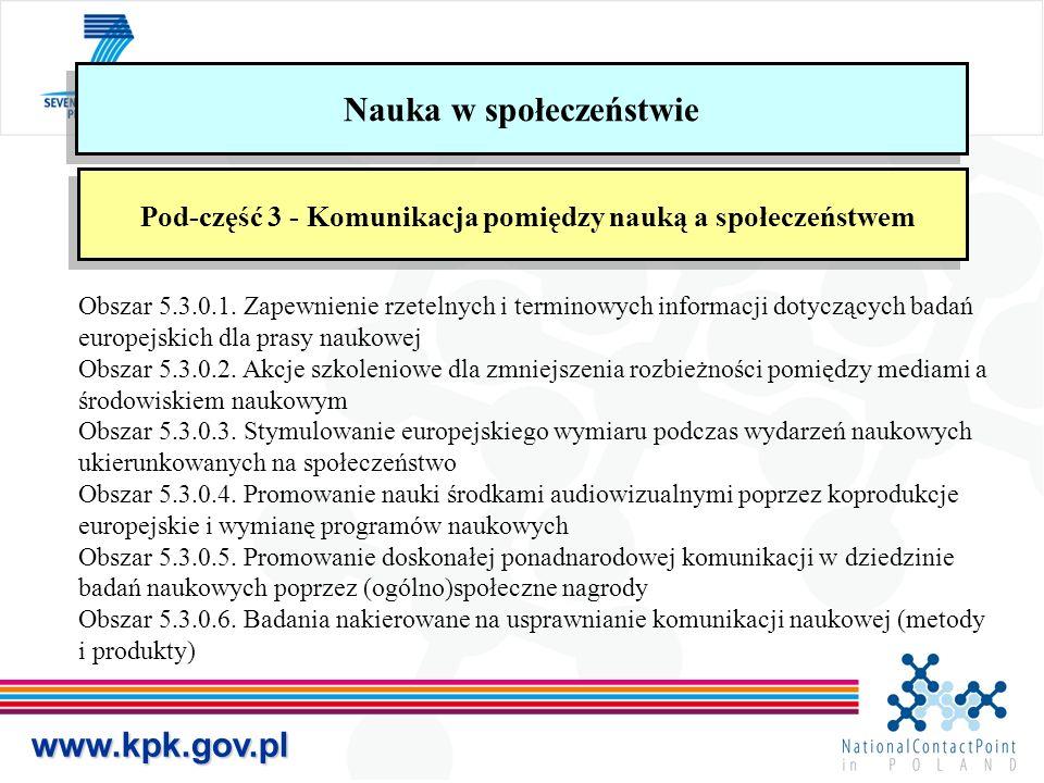 www.kpk.gov.pl Nauka w społeczeństwie Pod-część 3 - Komunikacja pomiędzy nauką a społeczeństwem Obszar 5.3.0.1.