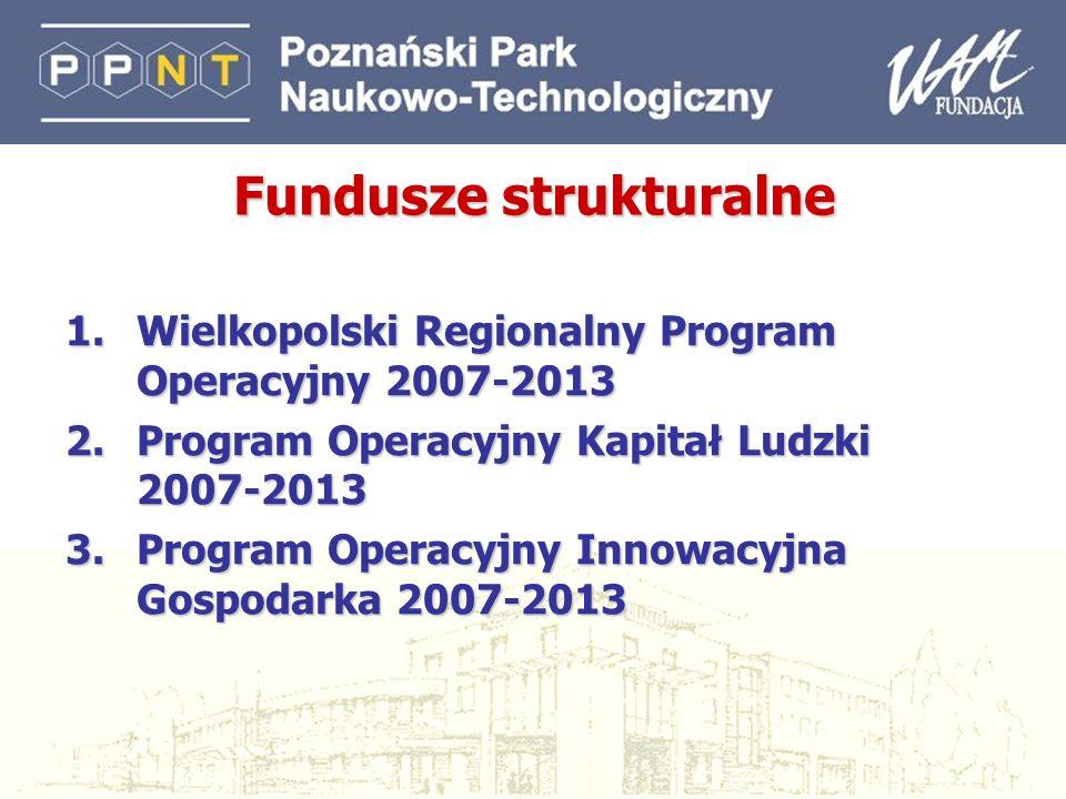 2 Fundusze strukturalne 1.Wielkopolski Regionalny Program Operacyjny 2007-2013 2.Program Operacyjny Kapitał Ludzki 2007-2013 3.Program Operacyjny Inno