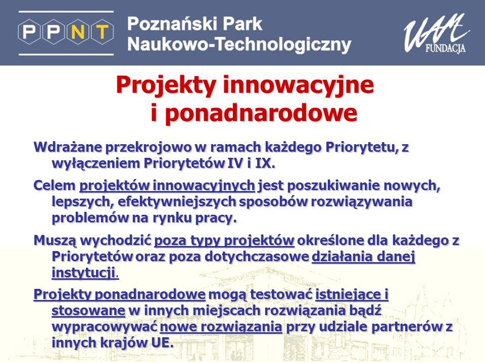 24 Projekty innowacyjne i ponadnarodowe Wdrażane przekrojowo w ramach każdego Priorytetu, z wyłączeniem Priorytetów IV i IX. Celem projektów innowacyj