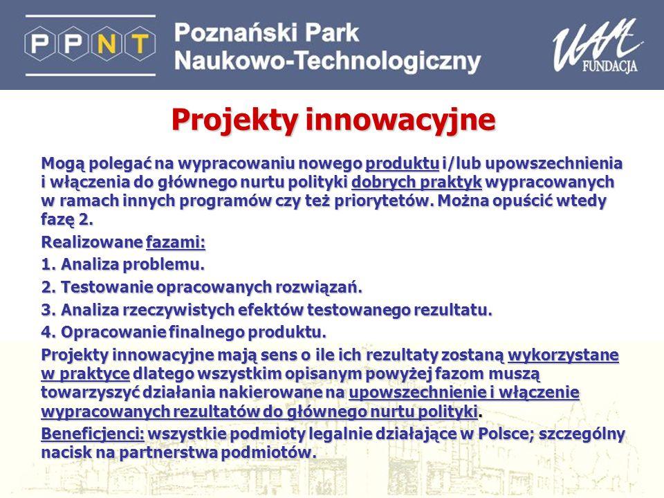 25 Projekty innowacyjne Mogą polegać na wypracowaniu nowego produktu i/lub upowszechnienia i włączenia do głównego nurtu polityki dobrych praktyk wypr