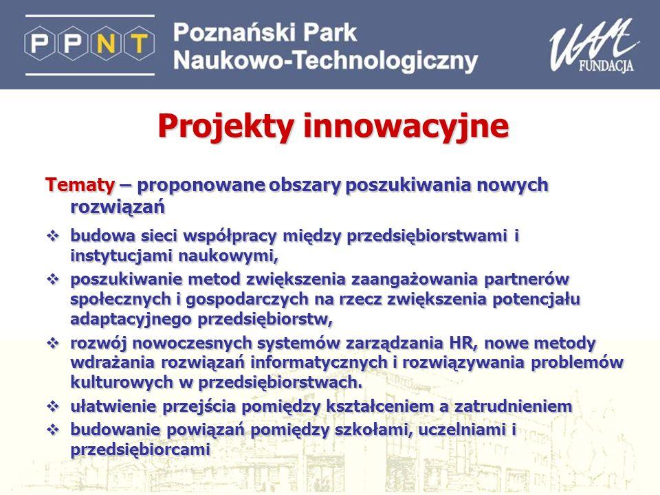 26 Projekty innowacyjne Tematy – proponowane obszary poszukiwania nowych rozwiązań budowa sieci współpracy między przedsiębiorstwami i instytucjami na