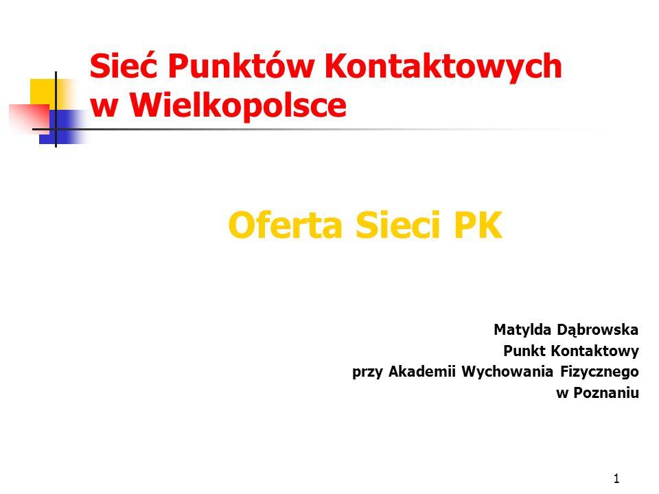 1 Sieć Punktów Kontaktowych w Wielkopolsce Oferta Sieci PK Matylda Dąbrowska Punkt Kontaktowy przy Akademii Wychowania Fizycznego w Poznaniu