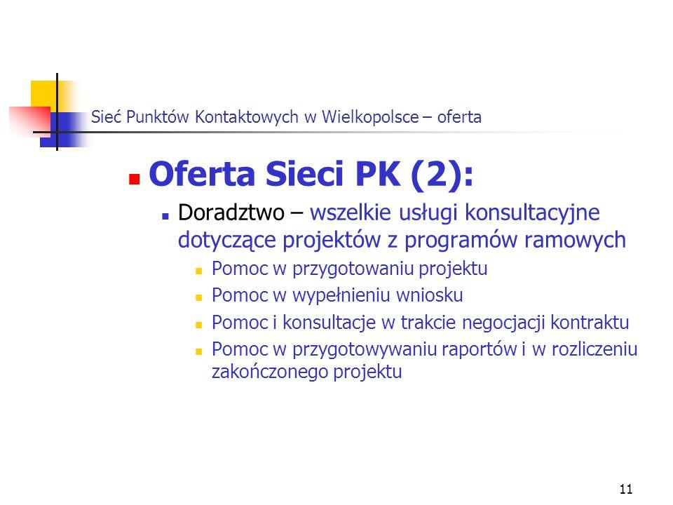 11 Sieć Punktów Kontaktowych w Wielkopolsce – oferta Oferta Sieci PK (2): Doradztwo – wszelkie usługi konsultacyjne dotyczące projektów z programów ramowych Pomoc w przygotowaniu projektu Pomoc w wypełnieniu wniosku Pomoc i konsultacje w trakcie negocjacji kontraktu Pomoc w przygotowywaniu raportów i w rozliczeniu zakończonego projektu