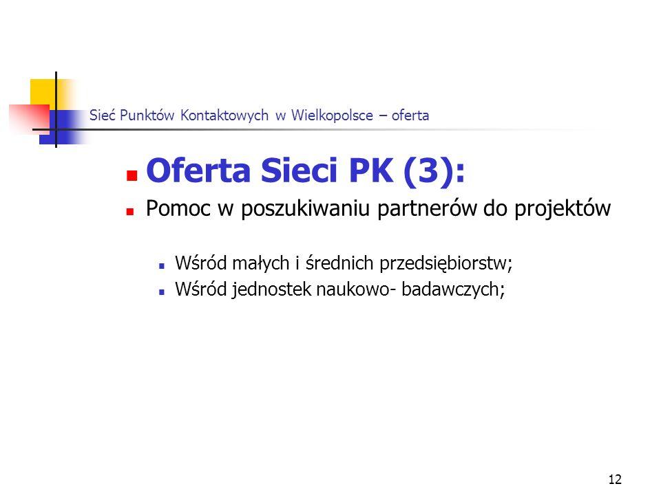 12 Sieć Punktów Kontaktowych w Wielkopolsce – oferta Oferta Sieci PK (3): Pomoc w poszukiwaniu partnerów do projektów Wśród małych i średnich przedsiębiorstw; Wśród jednostek naukowo- badawczych;