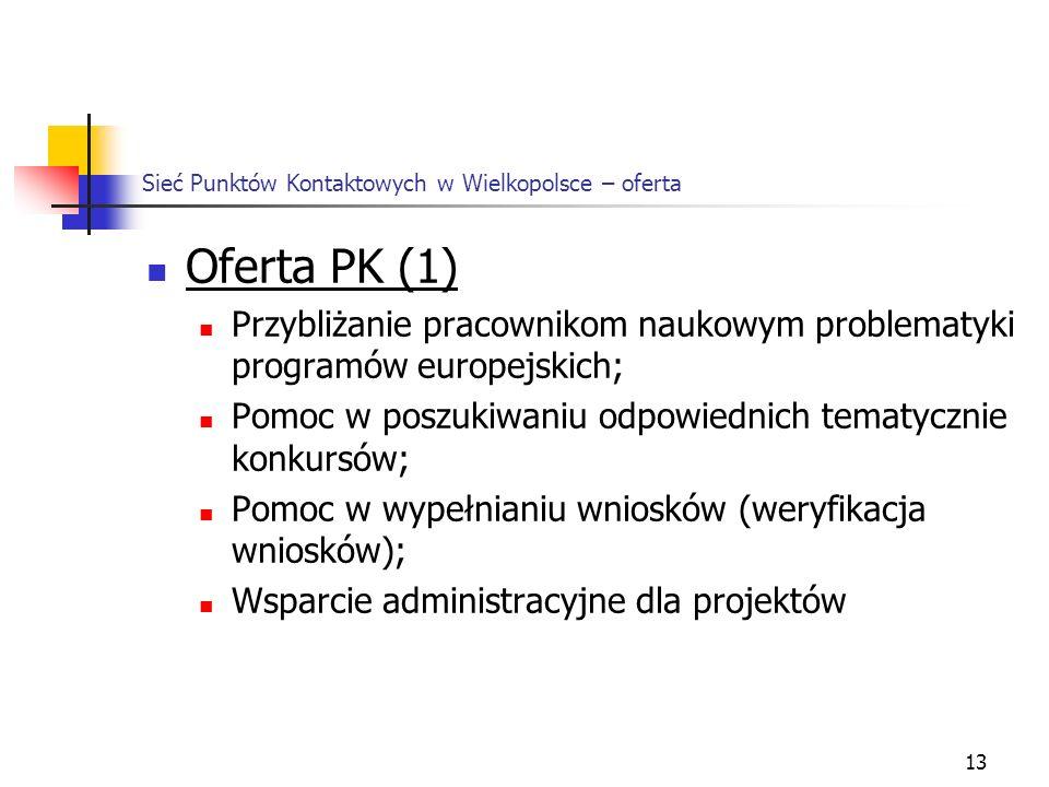 13 Sieć Punktów Kontaktowych w Wielkopolsce – oferta Oferta PK (1) Przybliżanie pracownikom naukowym problematyki programów europejskich; Pomoc w poszukiwaniu odpowiednich tematycznie konkursów; Pomoc w wypełnianiu wniosków (weryfikacja wniosków); Wsparcie administracyjne dla projektów