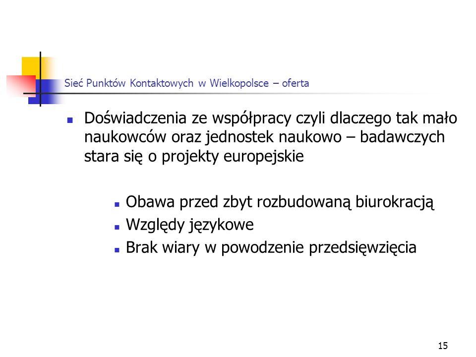 15 Sieć Punktów Kontaktowych w Wielkopolsce – oferta Doświadczenia ze współpracy czyli dlaczego tak mało naukowców oraz jednostek naukowo – badawczych stara się o projekty europejskie Obawa przed zbyt rozbudowaną biurokracją Względy językowe Brak wiary w powodzenie przedsięwzięcia