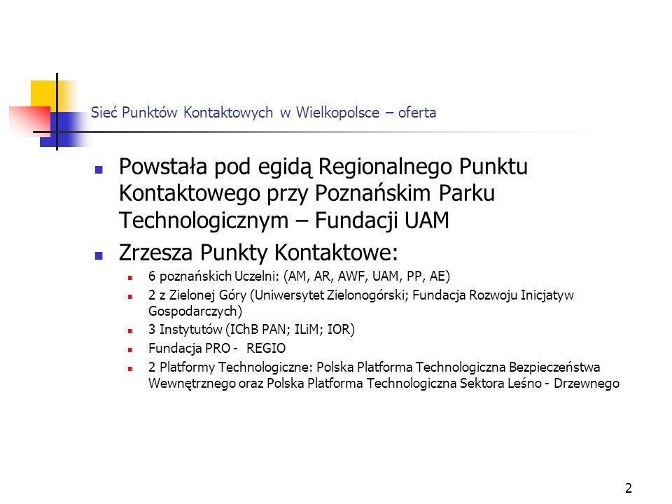 2 Sieć Punktów Kontaktowych w Wielkopolsce – oferta Powstała pod egidą Regionalnego Punktu Kontaktowego przy Poznańskim Parku Technologicznym – Fundacji UAM Zrzesza Punkty Kontaktowe: 6 poznańskich Uczelni: (AM, AR, AWF, UAM, PP, AE) 2 z Zielonej Góry (Uniwersytet Zielonogórski; Fundacja Rozwoju Inicjatyw Gospodarczych) 3 Instytutów (IChB PAN; ILiM; IOR) Fundacja PRO - REGIO 2 Platformy Technologiczne: Polska Platforma Technologiczna Bezpieczeństwa Wewnętrznego oraz Polska Platforma Technologiczna Sektora Leśno - Drzewnego