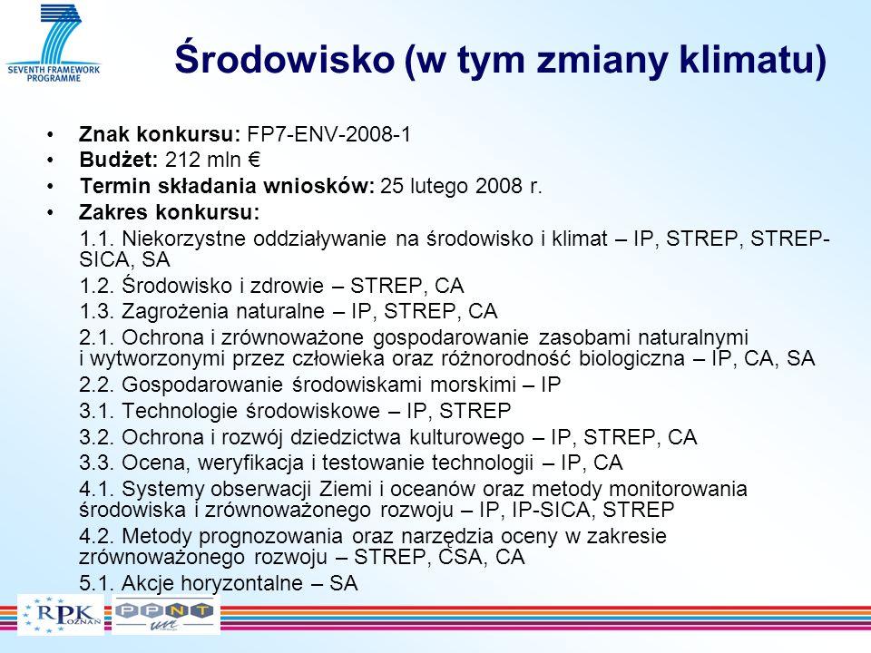 Środowisko (w tym zmiany klimatu) Znak konkursu: FP7-ENV-2008-1 Budżet: 212 mln Termin składania wniosków: 25 lutego 2008 r.