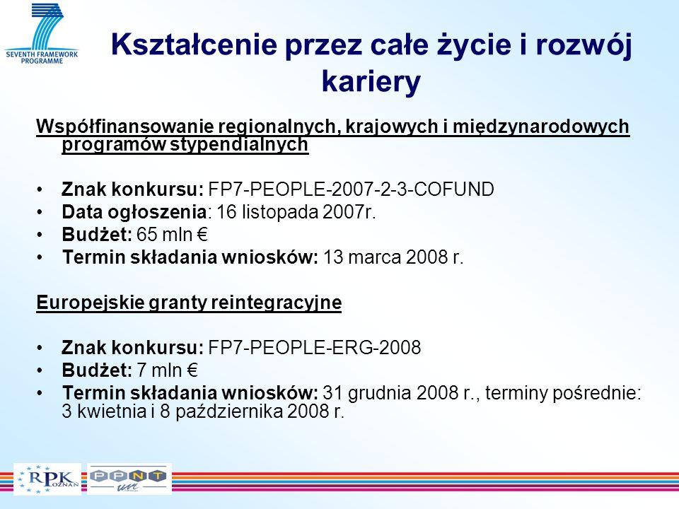 Kształcenie przez całe życie i rozwój kariery Współfinansowanie regionalnych, krajowych i międzynarodowych programów stypendialnych Znak konkursu: FP7-PEOPLE-2007-2-3-COFUND Data ogłoszenia: 16 listopada 2007r.
