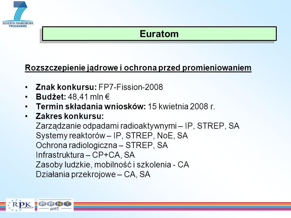 Rozszczepienie jądrowe i ochrona przed promieniowaniem Znak konkursu: FP7-Fission-2008 Budżet: 48,41 mln Termin składania wniosków: 15 kwietnia 2008 r.