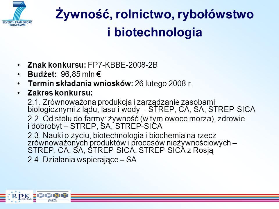 Żywność, rolnictwo, rybołówstwo i biotechnologia Znak konkursu: FP7-KBBE-2008-2B Budżet: 96,85 mln Termin składania wniosków: 26 lutego 2008 r.