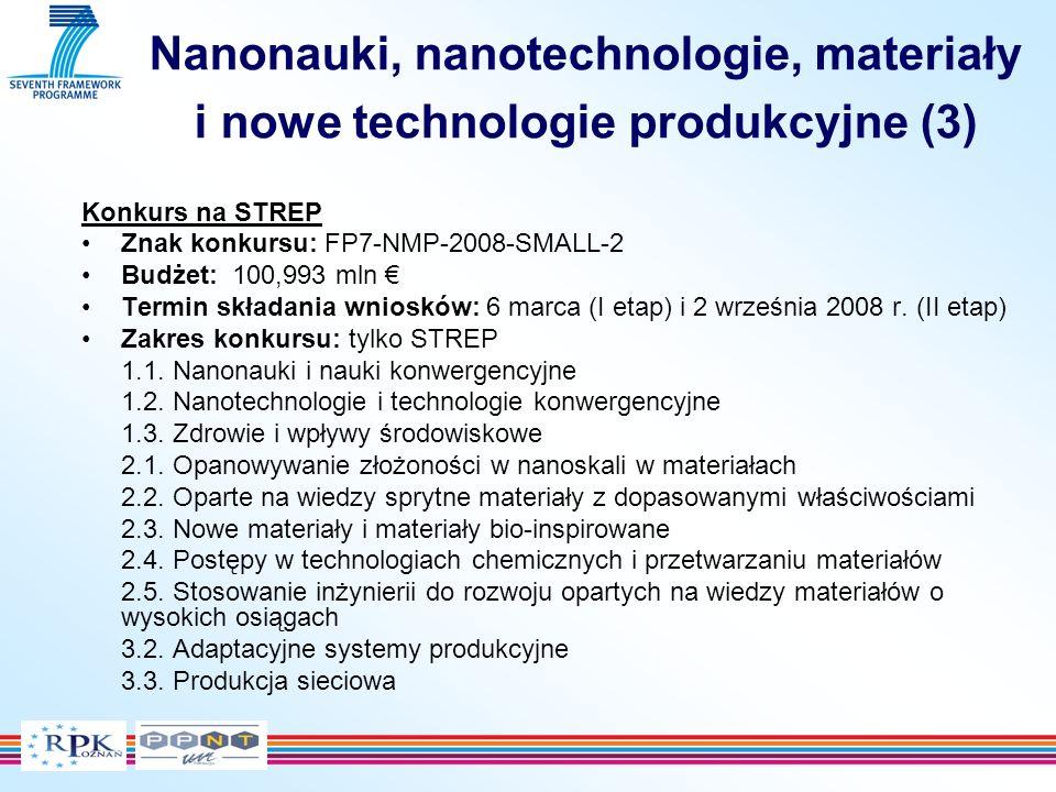 Nanonauki, nanotechnologie, materiały i nowe technologie produkcyjne (4) Konkurs na CP dla MŚP Znak konkursu: FP7-NMP-2008-SME-2 Budżet: 4,885 mln Termin składania wniosków: 6 marca (I etap) i 23 września 2008 r.