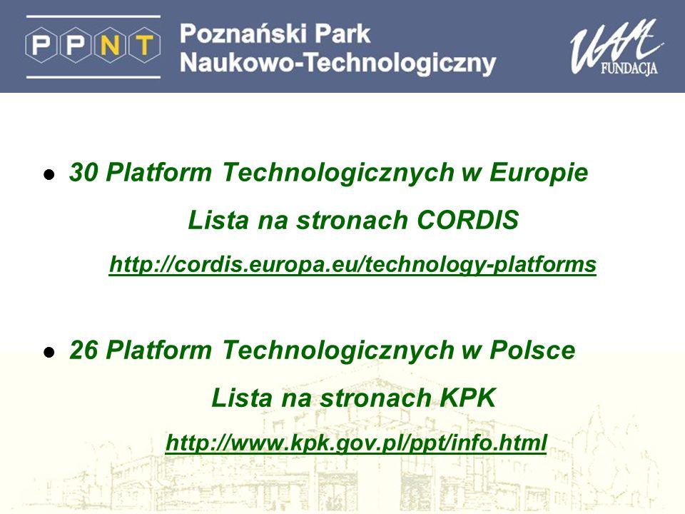 l 30 Platform Technologicznych w Europie Lista na stronach CORDIS http://cordis.europa.eu/technology-platforms l 26 Platform Technologicznych w Polsce Lista na stronach KPK http://www.kpk.gov.pl/ppt/info.html
