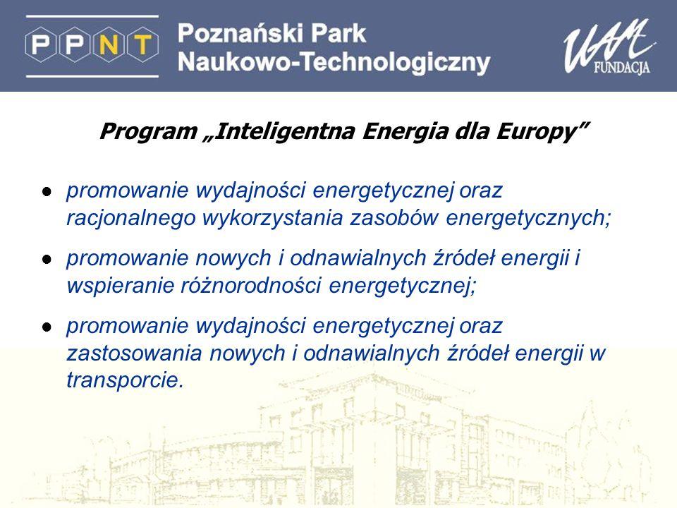 Program Inteligentna Energia dla Europy l promowanie wydajności energetycznej oraz racjonalnego wykorzystania zasobów energetycznych; l promowanie nowych i odnawialnych źródeł energii i wspieranie różnorodności energetycznej; l promowanie wydajności energetycznej oraz zastosowania nowych i odnawialnych źródeł energii w transporcie.