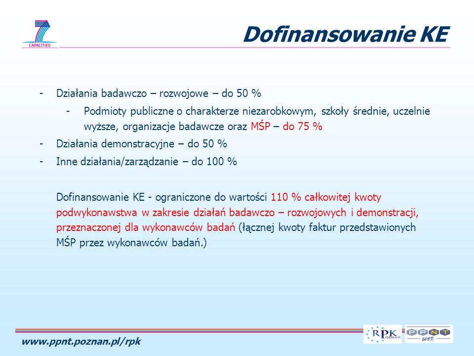 www.ppnt.poznan.pl/rpk Dofinansowanie KE -Działania badawczo – rozwojowe – do 50 % -Podmioty publiczne o charakterze niezarobkowym, szkoły średnie, uc