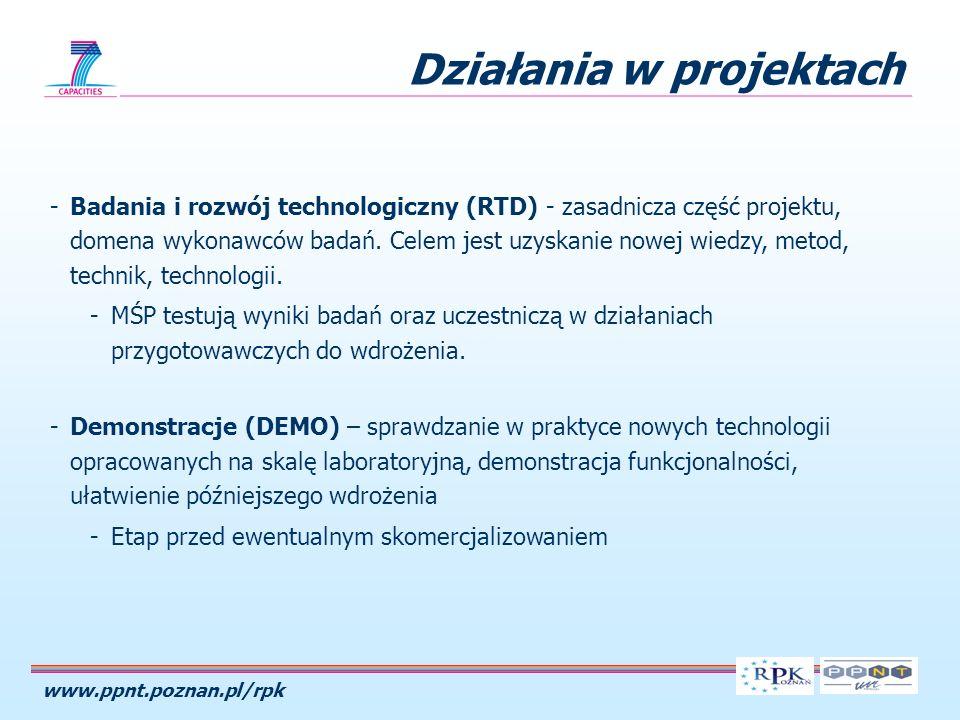 www.ppnt.poznan.pl/rpk Działania w projektach -Badania i rozwój technologiczny (RTD) - zasadnicza część projektu, domena wykonawców badań. Celem jest
