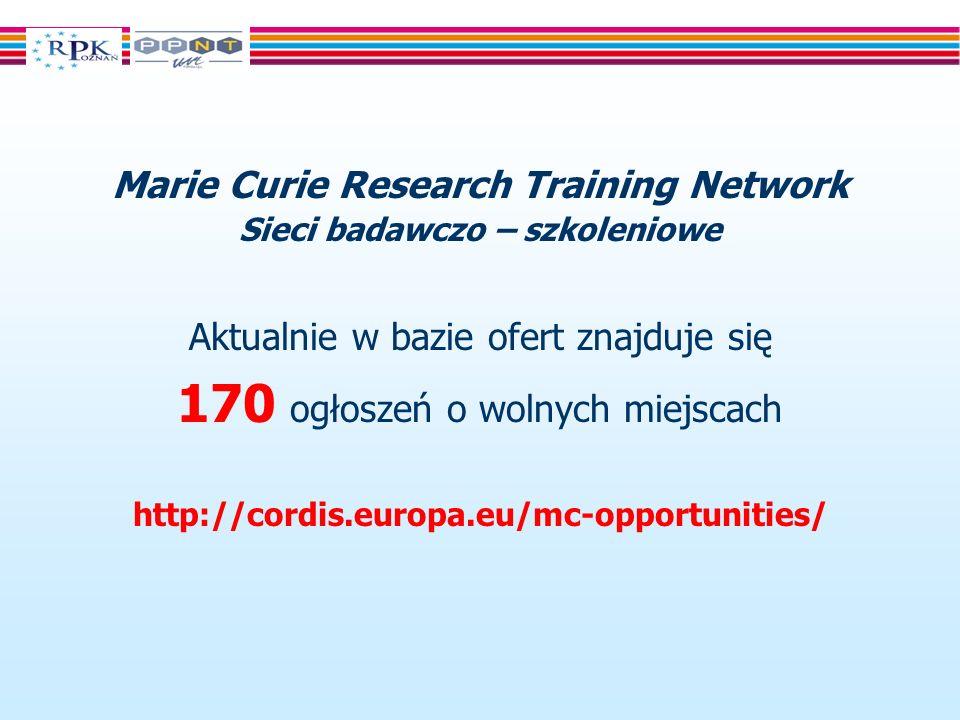 Marie Curie Research Training Network Sieci badawczo – szkoleniowe Aktualnie w bazie ofert znajduje się 170 ogłoszeń o wolnych miejscach http://cordis.europa.eu/mc-opportunities/