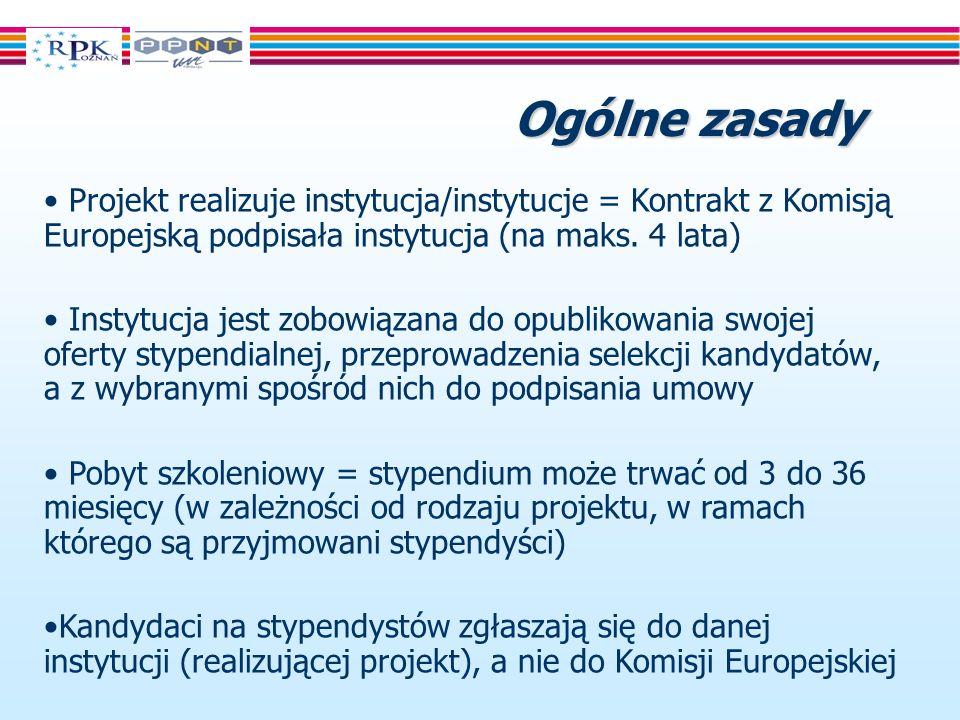 Ogólne zasady Projekt realizuje instytucja/instytucje = Kontrakt z Komisją Europejską podpisała instytucja (na maks.
