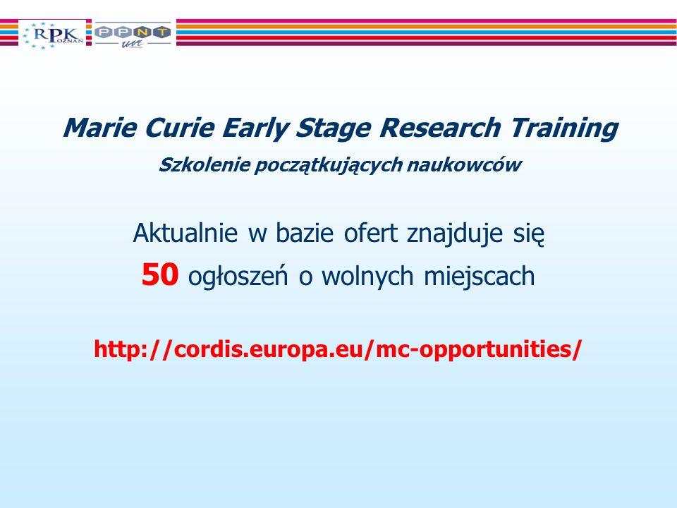 Marie Curie Early Stage Research Training Szkolenie początkujących naukowców Aktualnie w bazie ofert znajduje się 50 ogłoszeń o wolnych miejscach http://cordis.europa.eu/mc-opportunities/