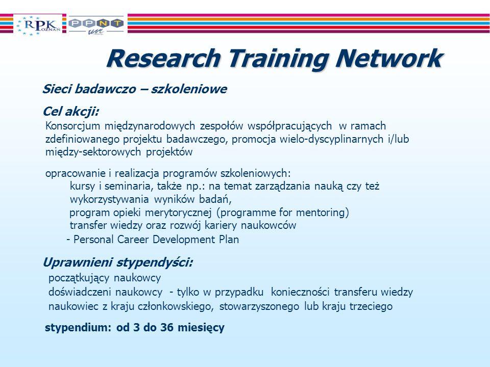 Research Training Network Sieci badawczo – szkoleniowe Cel akcji: Konsorcjum międzynarodowych zespołów współpracujących w ramach zdefiniowanego projektu badawczego, promocja wielo-dyscyplinarnych i/lub między-sektorowych projektów opracowanie i realizacja programów szkoleniowych: kursy i seminaria, także np.: na temat zarządzania nauką czy też wykorzystywania wyników badań, program opieki merytorycznej (programme for mentoring) transfer wiedzy oraz rozwój kariery naukowców - Personal Career Development Plan Uprawnieni stypendyści: początkujący naukowcy doświadczeni naukowcy - tylko w przypadku konieczności transferu wiedzy naukowiec z kraju członkowskiego, stowarzyszonego lub kraju trzeciego stypendium: od 3 do 36 miesięcy