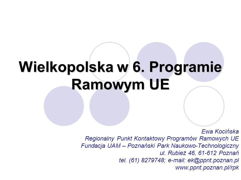 Wielkopolska w 6. Programie Ramowym UE Ewa Kocińska Regionalny Punkt Kontaktowy Programów Ramowych UE Fundacja UAM – Poznański Park Naukowo-Technologi