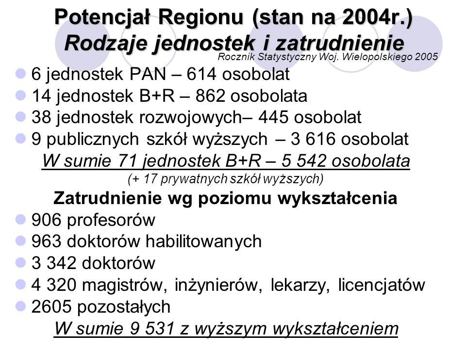 Potencjał Regionu (stan na 2004r.) Rodzaje jednostek i zatrudnienie Rocznik Statystyczny Woj.
