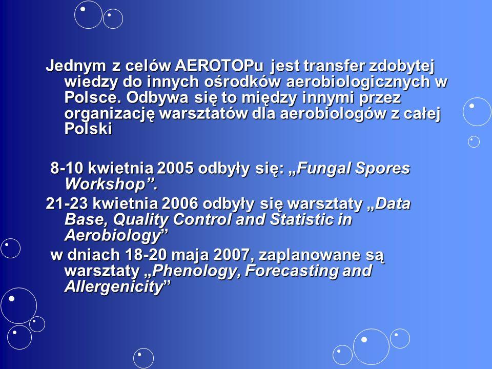 Jednym z celów AEROTOPu jest transfer zdobytej wiedzy do innych ośrodków aerobiologicznych w Polsce.