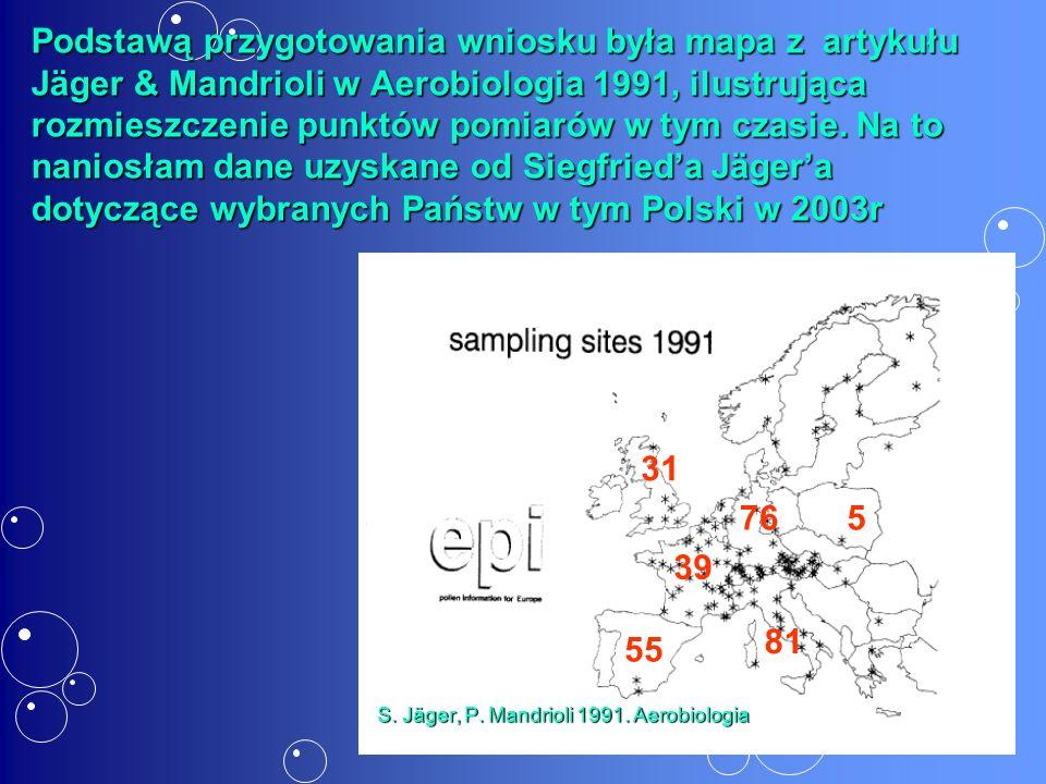 5 Podstawą przygotowania wniosku była mapa z artykułu Jäger & Mandrioli w Aerobiologia 1991, ilustrująca rozmieszczenie punktów pomiarów w tym czasie.