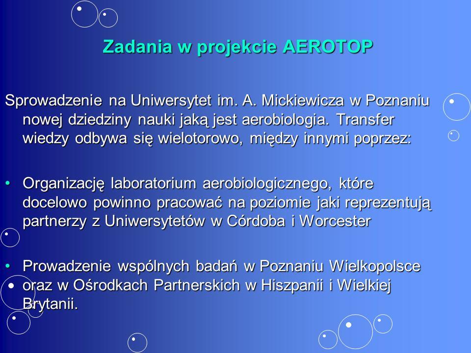 Zadania w projekcie AEROTOP Zadania w projekcie AEROTOP Sprowadzenie na Uniwersytet im.