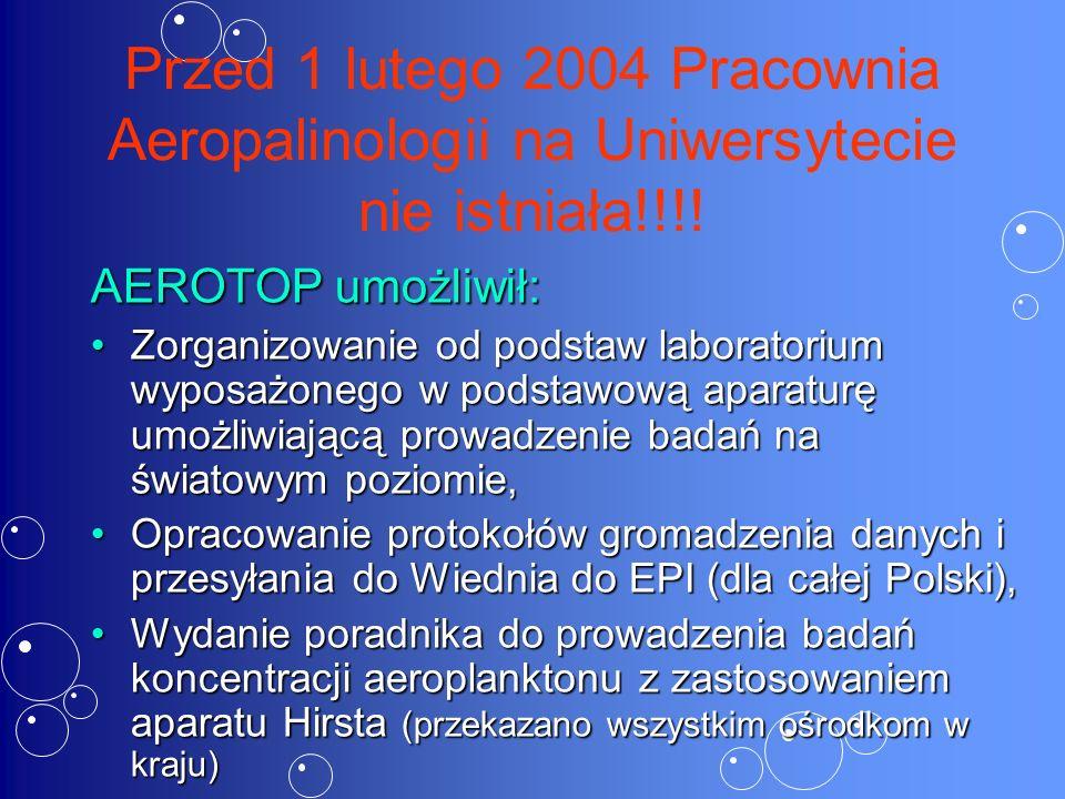 Przed 1 lutego 2004 Pracownia Aeropalinologii na Uniwersytecie nie istniała!!!.