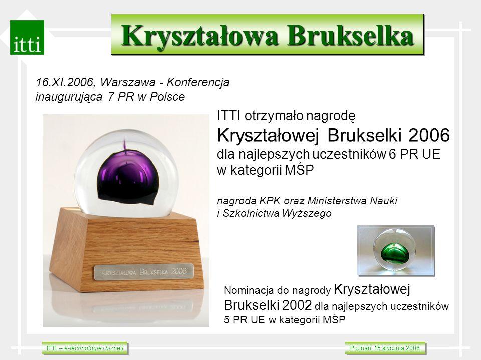 ITTI – e-technologie i biznes Poznań, 15 stycznia 2006. Kryształowa Brukselka ITTI otrzymało nagrodę Kryształowej Brukselki 2006 dla najlepszych uczes