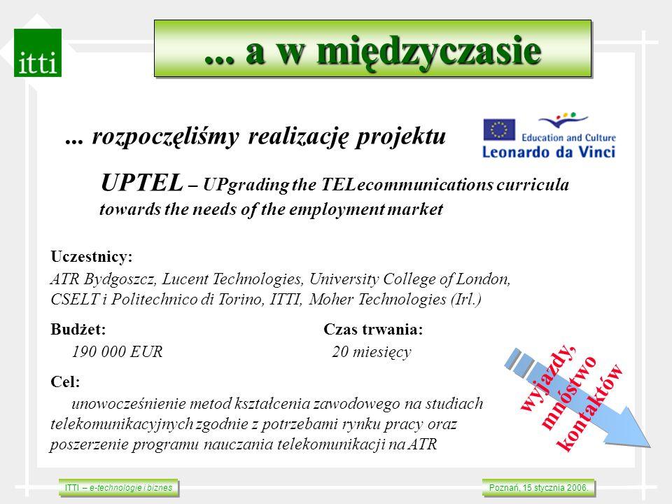 ITTI – e-technologie i biznes Poznań, 15 stycznia 2006.... a w międzyczasie... rozpoczęliśmy realizację projektu UPTEL – UPgrading the TELecommunicati