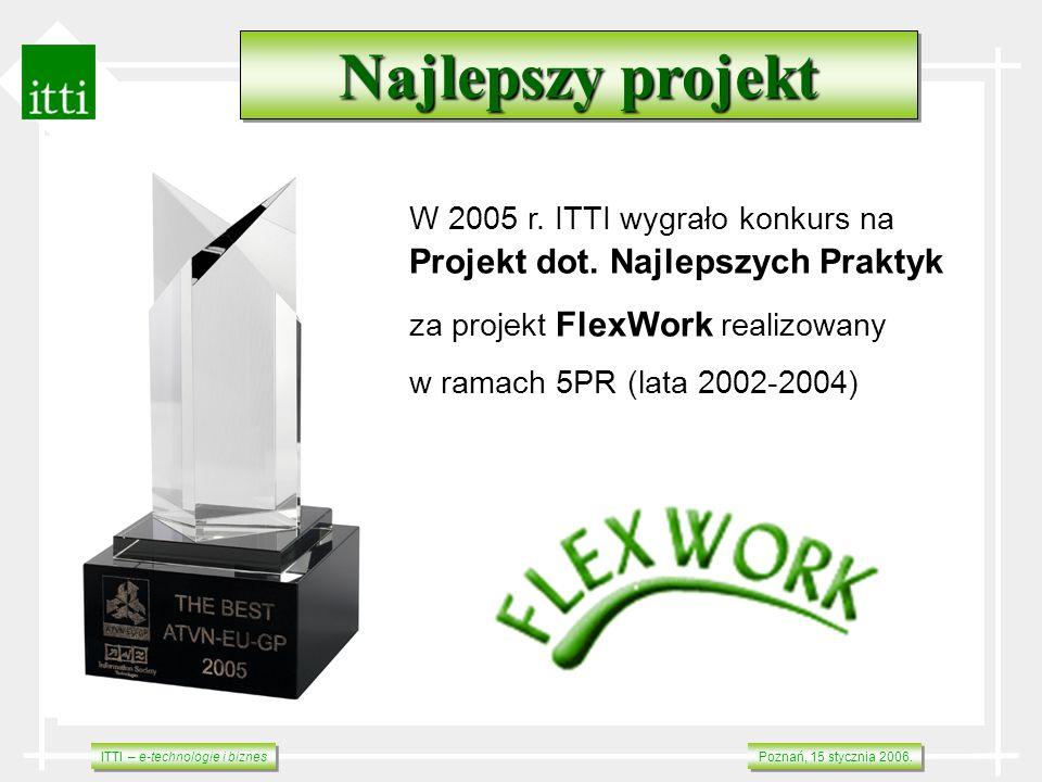 ITTI – e-technologie i biznes Poznań, 15 stycznia 2006. W 2005 r. ITTI wygrało konkurs na Projekt dot. Najlepszych Praktyk za projekt FlexWork realizo