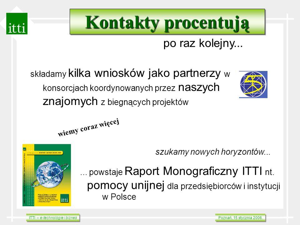 ITTI – e-technologie i biznes Poznań, 15 stycznia 2006. szukamy nowych horyzontów...... powstaje Raport Monograficzny ITTI nt. pomocy unijnej dla prze