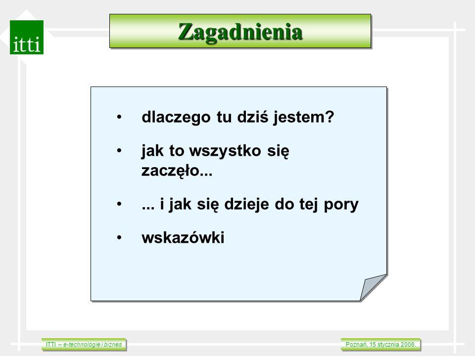 ITTI – e-technologie i biznes Poznań, 15 stycznia 2006. ZagadnieniaZagadnienia dlaczego tu dziś jestem? jak to wszystko się zaczęło...... i jak się dz