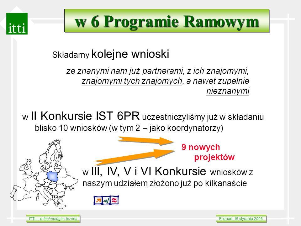 ITTI – e-technologie i biznes Poznań, 15 stycznia 2006. w 6 Programie Ramowym Składamy kolejne wnioski ze znanymi nam już partnerami, z ich znajomymi,