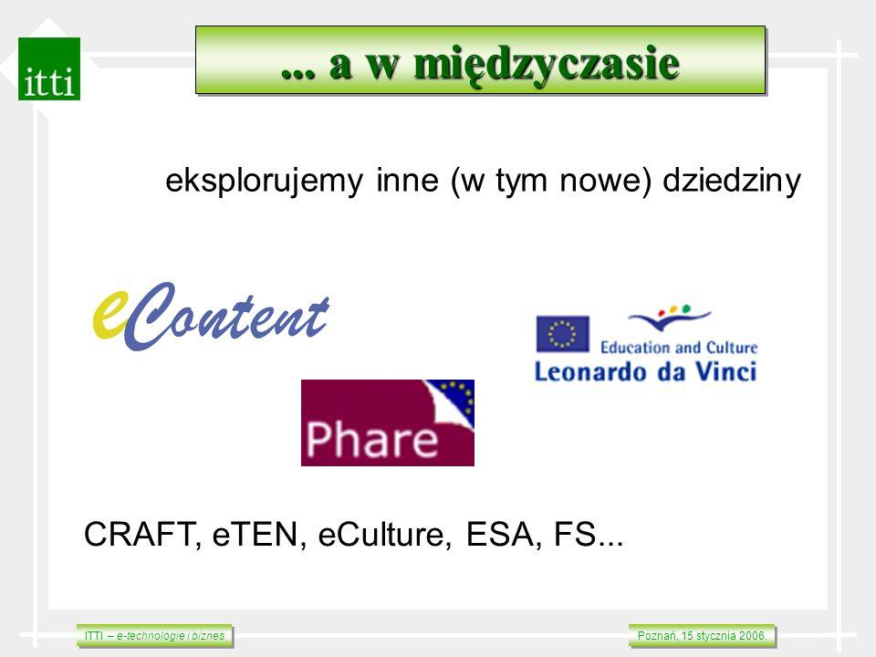 ITTI – e-technologie i biznes Poznań, 15 stycznia 2006.... a w międzyczasie eksplorujemy inne (w tym nowe) dziedziny CRAFT, eTEN, eCulture, ESA, FS...