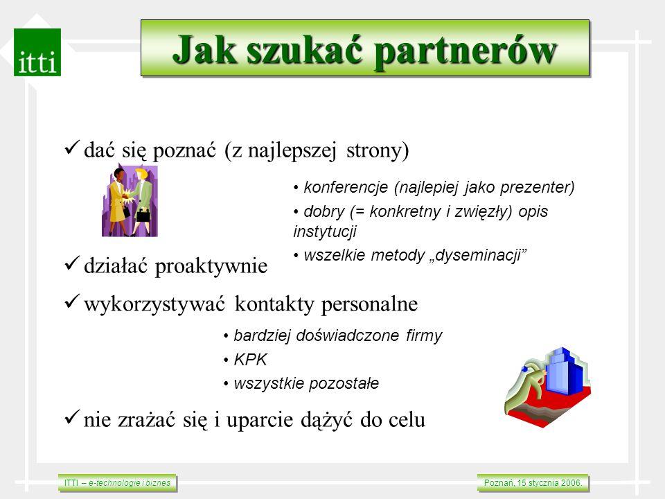 ITTI – e-technologie i biznes Poznań, 15 stycznia 2006. dać się poznać (z najlepszej strony) działać proaktywnie wykorzystywać kontakty personalne nie