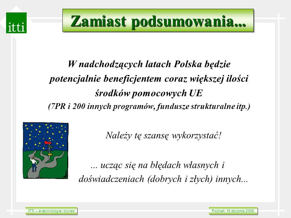 ITTI – e-technologie i biznes Poznań, 15 stycznia 2006. Zamiast podsumowania... W nadchodzących latach Polska będzie potencjalnie beneficjentem coraz