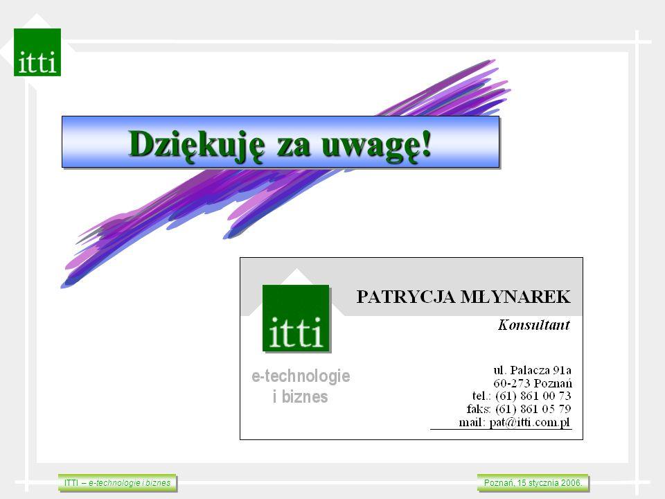 ITTI – e-technologie i biznes Poznań, 15 stycznia 2006. Dziękuję za uwagę! Dziękuję za uwagę!