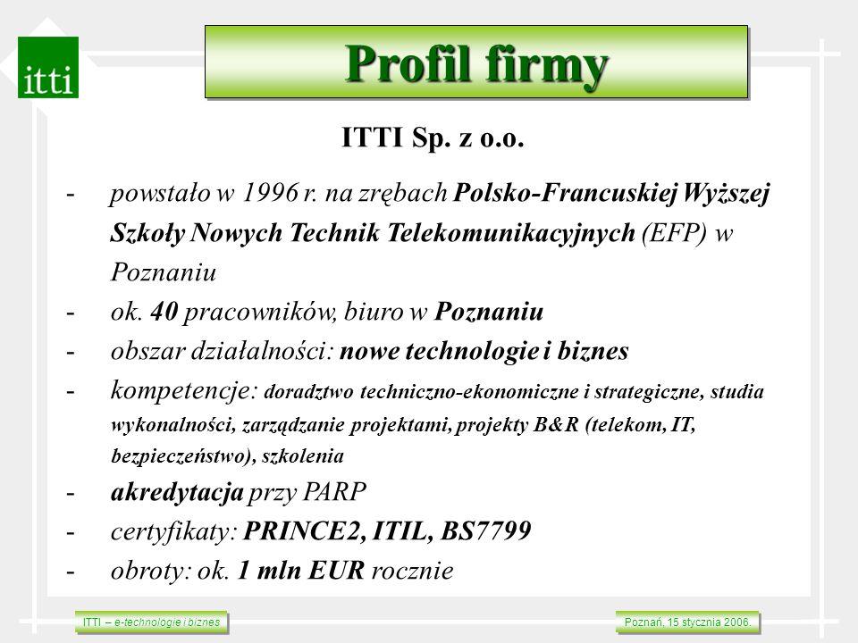 ITTI – e-technologie i biznes Poznań, 15 stycznia 2006. Profil firmy ITTI Sp. z o.o. -powstało w 1996 r. na zrębach Polsko-Francuskiej Wyższej Szkoły