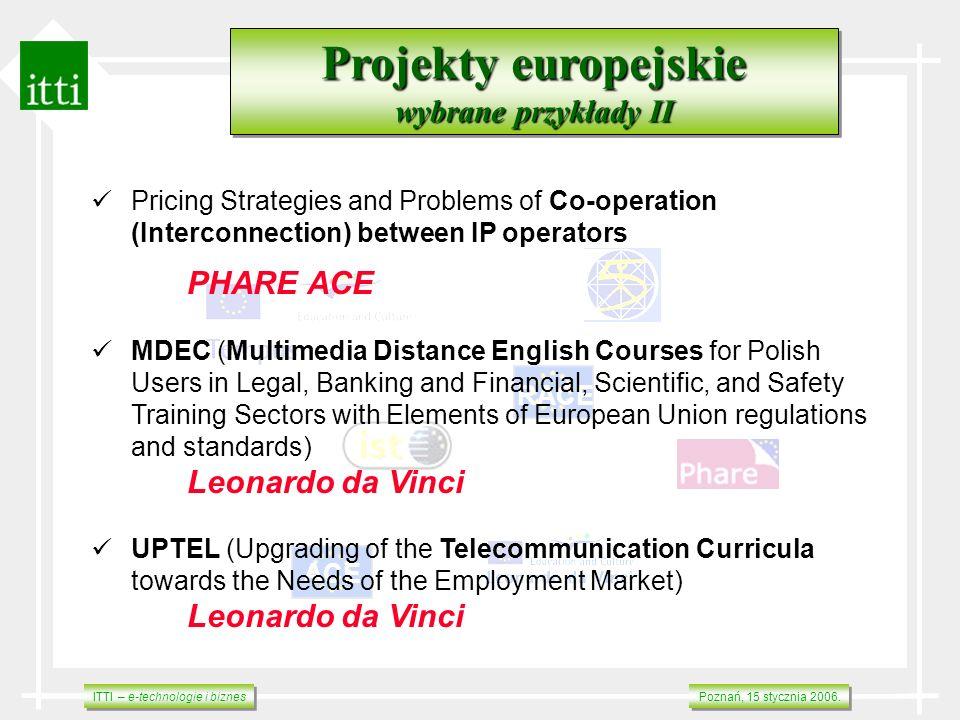 ITTI – e-technologie i biznes Poznań, 15 stycznia 2006. RACE ACE Projekty europejskie wybrane przykłady II Projekty europejskie wybrane przykłady II P