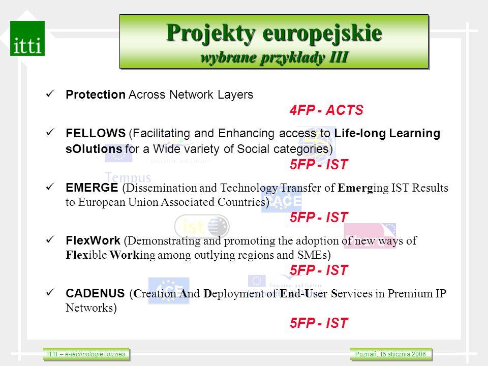 ITTI – e-technologie i biznes Poznań, 15 stycznia 2006. RACE ACE Projekty europejskie wybrane przykłady III Projekty europejskie wybrane przykłady III