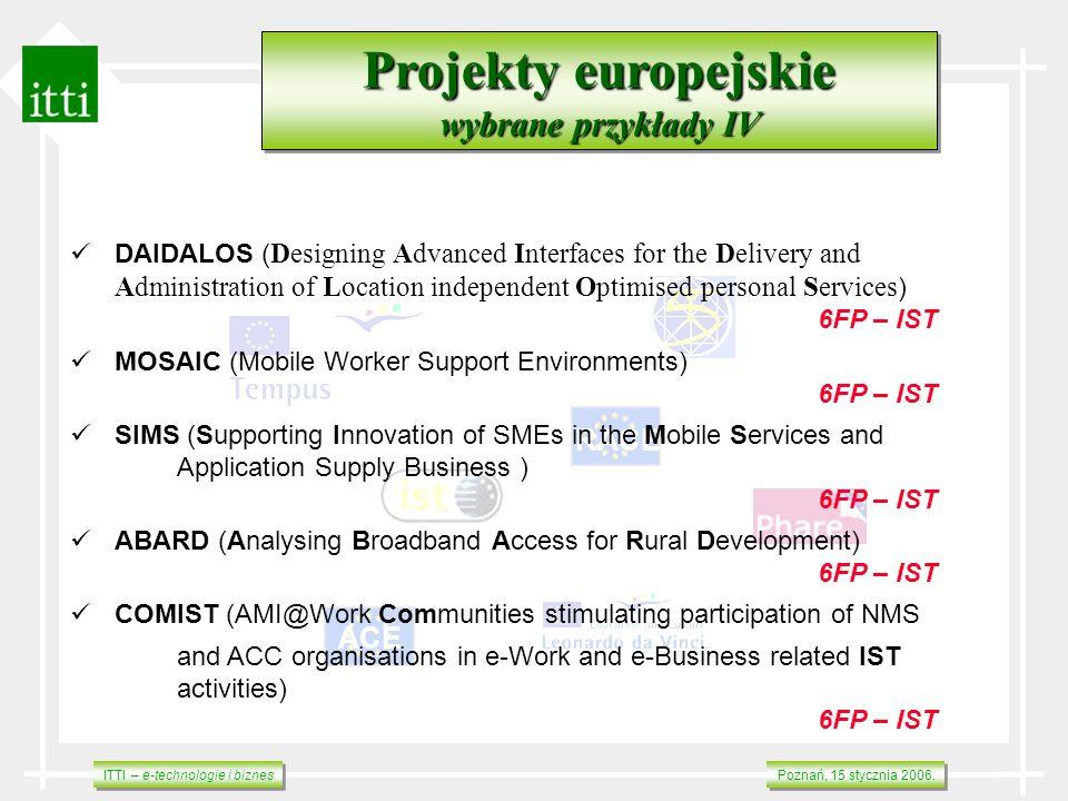 ITTI – e-technologie i biznes Poznań, 15 stycznia 2006. RACE ACE Projekty europejskie wybrane przykłady IV Projekty europejskie wybrane przykłady IV D