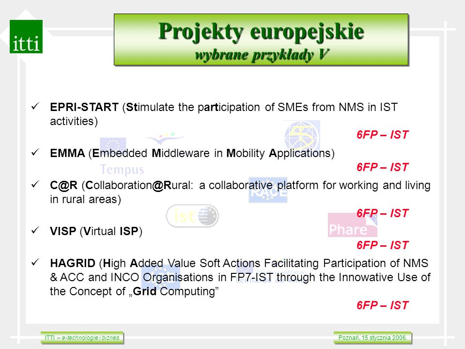 ITTI – e-technologie i biznes Poznań, 15 stycznia 2006. RACE ACE Projekty europejskie wybrane przykłady V Projekty europejskie wybrane przykłady V EPR