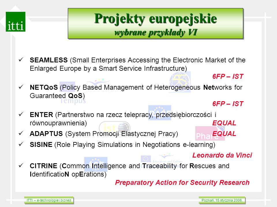 ITTI – e-technologie i biznes Poznań, 15 stycznia 2006. RACE ACE Projekty europejskie wybrane przykłady VI Projekty europejskie wybrane przykłady VI S