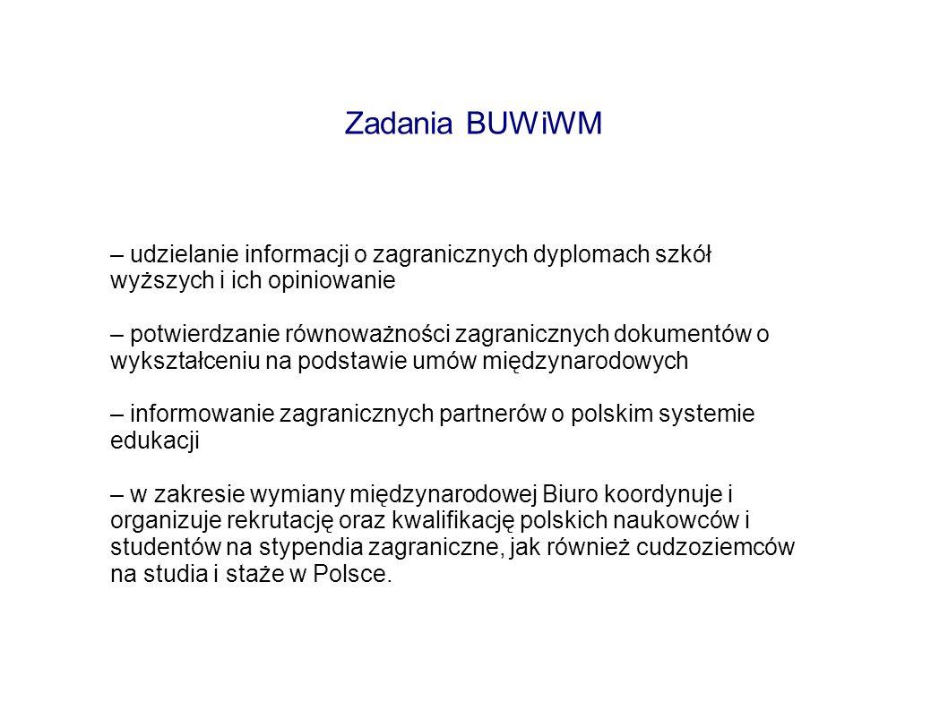 Zadania BUWiWM – udzielanie informacji o zagranicznych dyplomach szkół wyższych i ich opiniowanie – potwierdzanie równoważności zagranicznych dokument