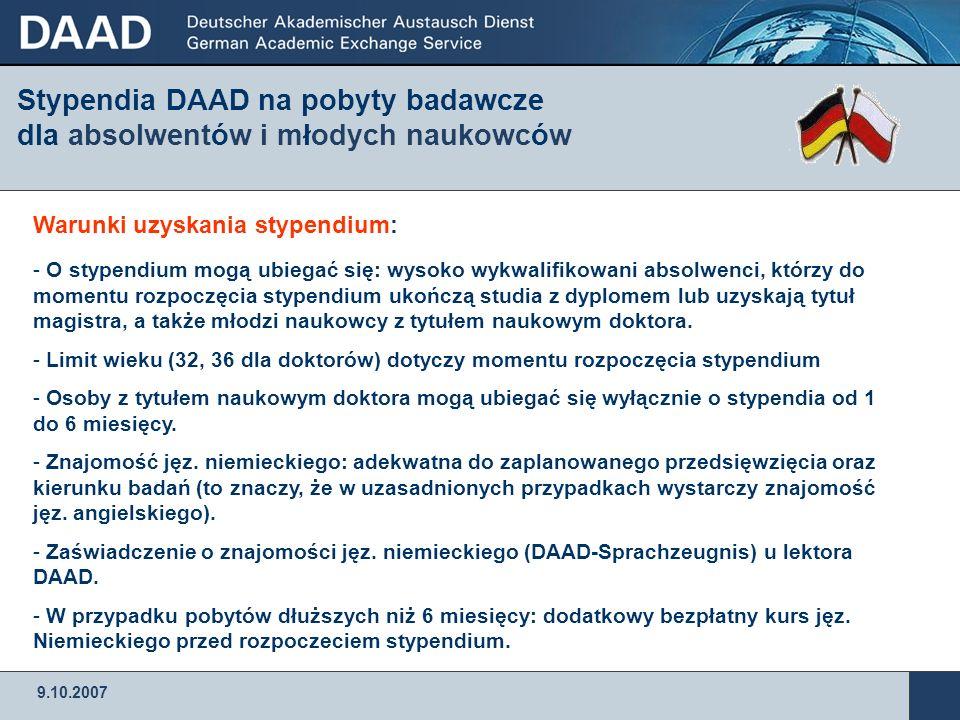 9.10.2007 DAAD – Przedstawicielstwo w Warszawie ul.